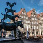 Die Statue der bremer Stadtmusikanten in der Bremer Innenstadt
