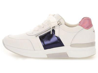 Weißer Gabor Rollingsoft Sneaker mit blauem Streifen